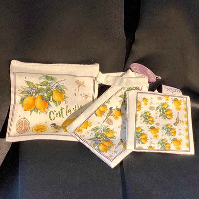 Ensemble de 3 sacs pour lunch en coton